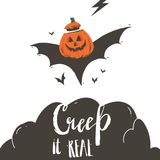 Hand drawn vector abstract cartoon Happy Halloween illustration poster with bats,pumpkin and modern handwritten. Calligraphy phase Creep it real  on white Royalty Free Stock Photography