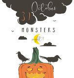 Hand drawn vector abstract cartoon Happy Halloween illustration poster with ravens,pumpkin,moon and modern calligraphy. Phase 31 october monsters night isolated Stock Photography