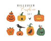 Hand drawn vector abstract cartoon Happy Halloween illustrations elements collection set with pumpkins emoji horned Stock Photos