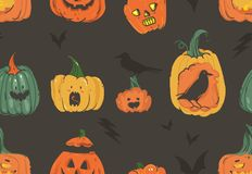 Hand drawn vector abstract cartoon Happy Halloween illustrations seamless pattern with pumpkins horned latern monsters. Hand drawn vector abstract cartoon Happy Royalty Free Stock Images