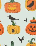 Hand drawn vector abstract cartoon Happy Halloween illustrations seamless pattern with pumpkins emoji horned lanterns Royalty Free Stock Image