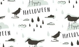 Hand drawn vector abstract cartoon Happy Halloween illustrations seamless pattern with ravens,crows,drops,clouds and. Modern calligraphy Happy Halloween  on Royalty Free Stock Photo