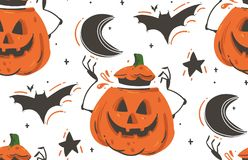 Free Hand Drawn Vector Abstract Cartoon Happy Halloween Illustrations Seamless Pattern With Bats,pumpkins,moon And Stars Royalty Free Stock Photo - 100392185