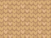 Hand drawn vector abstract cartoon Merry Christmas and Happy New Year holidays ocher brown ornamental knitted seamless. Pattern design element Stock Photography