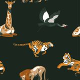 Hand drawn vector abstract cartoon modern graphic African Safari Nature illustrations art collage seamless pattern with royalty free illustration