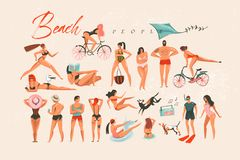 Hand drawn vector abstract cartoon summer time fun big swimming people group collection illustrations set isolated on. White background stock illustration