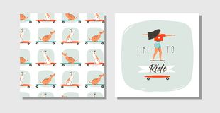 Hand drawn vector abstract cartoon summer time fun cards set collection with Royalty Free Stock Photo