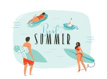 Hand drawn vector abstract cartoon summer time fun illustration with happy surfers family with long boards and modern Royalty Free Stock Photography