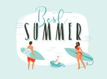 Hand drawn vector abstract cartoon summer time fun illustration with happy surfers family with long boards and modern Stock Image