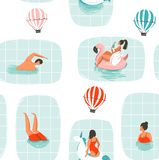 Hand drawn vector abstract cartoon summer time fun illustration seamless pattern with swimming people in swimming pool. With hot air balloons isolated on white Stock Photo
