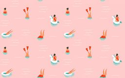 Free Hand Drawn Vector Abstract Cartoon Summer Time Fun Illustration Seamless Pattern With Swimming People Isolated On Pink Royalty Free Stock Photos - 97659608