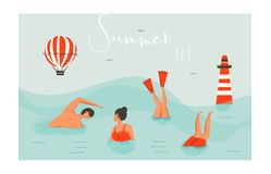 Hand drawn vector abstract cartoon summer time fun swimming people group collection set on blue ocean waves. Hand drawn vector abstract cartoon summer time fun vector illustration