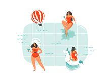 Hand drawn vector abstract cartoon summer time fun swimming young girls group collection illustrations isolated on blue Stock Photography