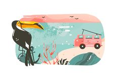 Hand drawn vector abstract cartoon summer time graphic illustrations art banner background with ocean beach landscape. Pink sunset view,van camper car,toucan Stock Photography
