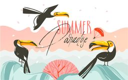 Hand drawn vector abstract cartoon summer time graphic illustrations art with beach sunset scene and tropical toucan. Birds with Summer Parsdise typography text Vector Illustration