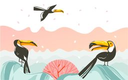 Hand drawn vector abstract cartoon summer time graphic illustrations art with beach sunset scene and tropical toucan birds with co Stock Photography