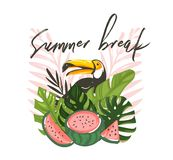 Hand drawn vector abstract cartoon summer time graphic illustrations art with exotic tropical sign with rainforest royalty free stock images