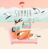 Hand drawn vector abstract cartoon summer time graphic illustrations art template background with ocean beach landscape royalty free stock photos