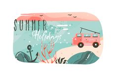 Hand drawn vector abstract cartoon summer time graphic illustrations art template banner background with ocean beach. Landscape,pink sunset view,van camper car Stock Image