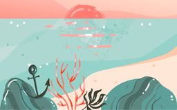 Hand drawn vector abstract cartoon summer time graphic illustrations art template banner background with ocean beach. Landscape,pink sunset view with copy space Royalty Free Stock Images