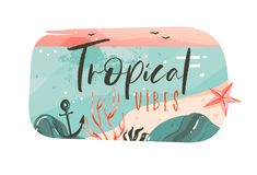 Hand drawn vector abstract cartoon summer time graphic illustrations art template banner badge background with ocean. Beach landscape,pink sunset view with vector illustration