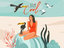 Hand drawn vector abstract cartoon summer time graphic illustrations art template sign background with girl,toucan birds on beach Royalty Free Stock Images