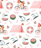Hand drawn vector abstract cartoon summer time graphic illustrations artistic seamless pattern with beach gull birds. Camping tent,watermelon and beauty girl on Stock Images