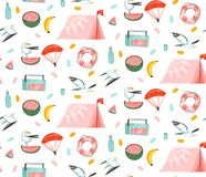 Hand drawn vector abstract cartoon summer time graphic illustrations artistic seamless pattern with beach gull birds. Camping tent,watermelon and banana fruits stock illustration
