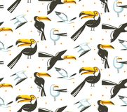 Hand drawn vector abstract cartoon summer time graphic illustrations artistic seamless pattern with beach gull and. Toucan birds beach vacation isolated on Royalty Free Stock Photography