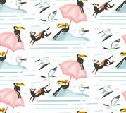 Hand drawn vector abstract cartoon summer time graphic illustrations artistic seamless pattern with beach gulland toucan stock illustration