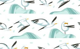 Hand drawn vector abstract cartoon summer time graphic illustrations artistic seamless pattern with flying sea gulls. Birds on beach isolated on white stock illustration