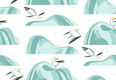 Hand drawn vector abstract cartoon summer time graphic illustrations artistic seamless pattern with flying sea gulls birds on beac. H isolated on white Royalty Free Stock Image