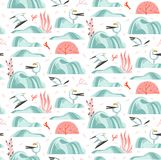 Hand drawn vector abstract cartoon summer time graphic illustrations artistic seamless pattern with flying sea gulls. Stones,coral reefs ,seaweeds and shell on stock illustration