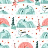 Hand drawn vector abstract cartoon summer time graphic illustrations artistic seamless pattern with flying sea gulls. Stones,coral reefs ,seaweeds and shell on vector illustration