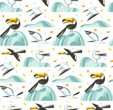 Hand drawn vector abstract cartoon summer time graphic illustrations artistic seamless pattern with flying sea gulls and. Tropical toucan birds on beach vector illustration