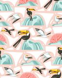 Hand drawn vector abstract cartoon summer time graphic illustrations artistic seamless pattern with flying sea gulls and. Tropical toucan birds on beach stock illustration
