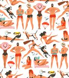 Hand drawn vector abstract cartoon summer time graphic illustrations artistic seamless pattern with relaxing people. Beach birds,dogs and beauty running girl on royalty free illustration