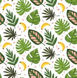 Hand drawn vector abstract cartoon summer time graphic illustrations seamless pattern with banana fruits and tropical. Palm leaves isolated on white background Stock Images