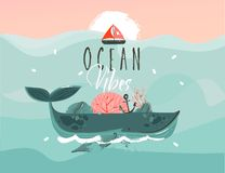 Hand drawn vector abstract cartoon summer time graphic illustrations template background with blue ocean waves,big whale. Corals,seaweed,sail,anchor,sundown and royalty free illustration