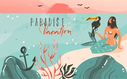 Hand drawn vector abstract cartoon summer time graphic illustrations template background with ocean beach landscape. Sunset and beauty girl mermaid,toucan bird Royalty Free Stock Photo