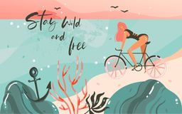 Hand drawn vector abstract cartoon summer time graphic illustrations template background with ocean beach landscape. Sunset,beauty girl on bicycle and Stay wild Royalty Free Stock Photo