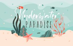Hand drawn vector abstract cartoon summer time graphic illustrations template background with ocean bottom,corals reefs vector illustration