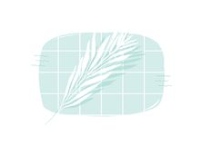Hand drawn vector abstract cartoon summer time swimming pool top view cartoon illustration with tropical palm leaves. Isolated on white background Stock Photography