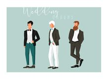 Hand drawn vector abstract cartoon wedding groom illustrations celebration elements collection set isolated on blue Royalty Free Stock Photography