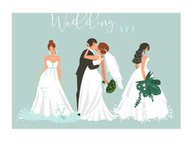 Hand drawn vector abstract cartoon wedding hugging,kissing couple and bridal girls illustrations collection elements set Stock Photo