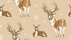 Hand drawn vector abstract cartoon wildlife Christmas seamless pattern with deers family ans snowflakes  on. Craft paper background Royalty Free Stock Image