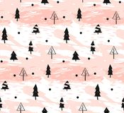 Hand drawn vector abstract Christmas decoration textured seamless pattern design with freehand dirty brush painted. Christmas trees in pastel colors  on white Stock Photography