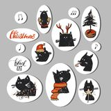 Hand drawn vector abstract Christmas stickers collection set with funny doodle black cat characters in red Christmas. Clothing and Christmas tree in pot  on Stock Photo