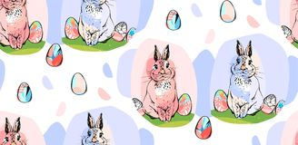 Hand drawn vector abstract collage drawing cute seamless pattern with realistic rabbits and Easter eggs in pastel colors Stock Image
