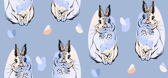 Hand drawn vector abstract collage drawing cute seamless pattern with realistic rabbits in pastel colors.Easter bunnies Stock Photo